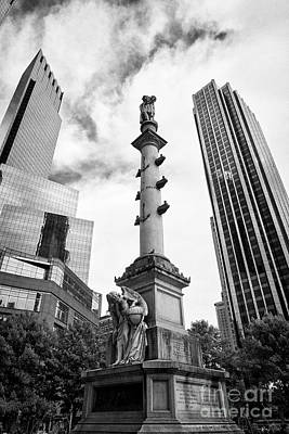 Statue Of Christopher Columbus In Columbus Circle With Time Warner Center And Trump International Ho Poster