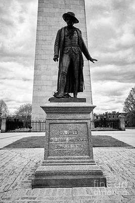 statue of col william prescott bunker hill monument breeds hill charlestown Boston USA Poster