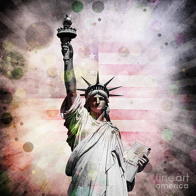 Poster featuring the digital art Statue Of Liberty by Phil Perkins