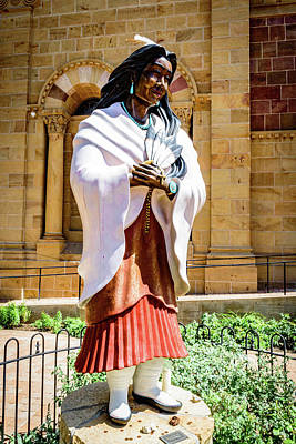 Statue Of Saint Kateri Tekakwitha - The Cathedral Basilica Of St Francis Of Assisi - Santa Fe - New  Poster by Jon Berghoff