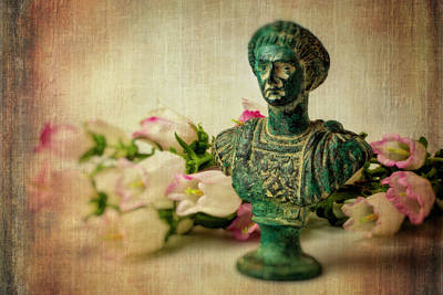 Statue With Campanula Flowers Poster by Garry Gay