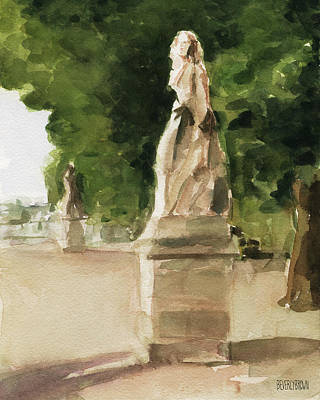 Statues Jardin Du Luxembourg Poster by Beverly Brown