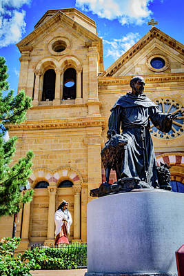 Statues Of Saint Kateri Tekakwitha And St Francis Of Assisi - The Cathedral Basilica Of St Francis O Poster by Jon Berghoff