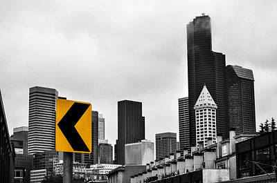 Stay Left Of Downtown Seattle Poster by Pelo Blanco Photo