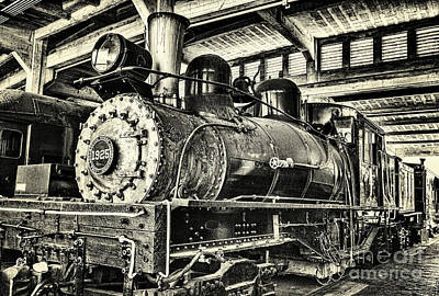 Poster featuring the photograph Steam Engine Train 1925 Lima Locomotive Bw by Dan Carmichael