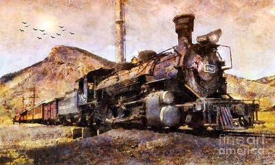 Poster featuring the digital art Steam Locomotive by Ian Mitchell