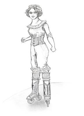 Steam Punk Roller Derby Girl Poster