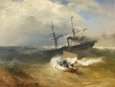 Steam Ship And Sailing Boat In Rough Seas Poster