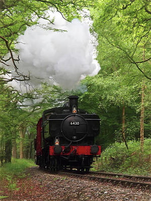Steam Train Approaching In The Forest Poster by Gill Billington