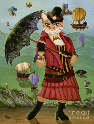 Poster featuring the painting Steampunk Cat Gal - Victorian Cat by Carrie Hawks