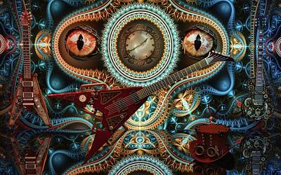 Poster featuring the digital art Steampunk Guitar by Louis Ferreira