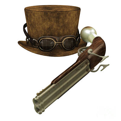 Steampunk Hat Goggles Gun Poster