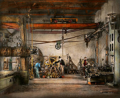 Steampunk - In An Old Clock Shop 1866 Poster by Mike Savad
