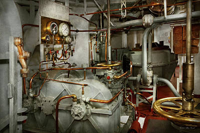 Poster featuring the photograph Steampunk - In The Engine Room by Mike Savad