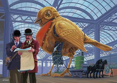 Poster featuring the digital art Steampunk Mechanical Robin Factory by Martin Davey