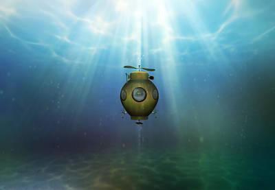 Steampunk Submarine Poster by Valerie Anne Kelly