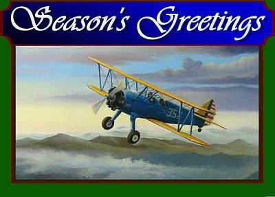 Poster featuring the painting Stearman Christmas Card by Stuart Swartz