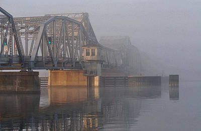 Steel Bridge In Fog Poster