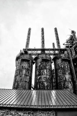 Steel Stacks - The Bethehem Steel Mill In Black And White Poster by Bill Cannon