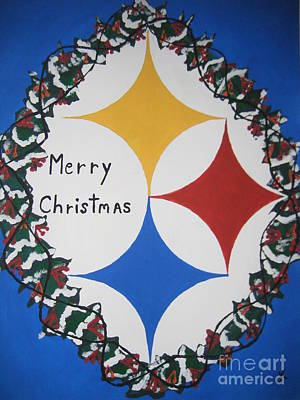 Poster featuring the painting Steelers Christmas Card by Jeffrey Koss