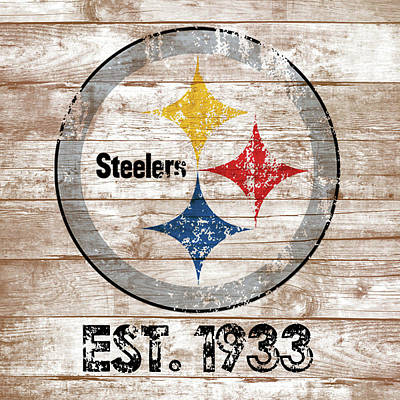 Steelers Distressed Wood Planks Poster