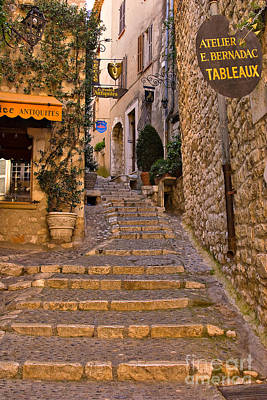 Steep Street In St Paul De Vence Poster by Louise Heusinkveld