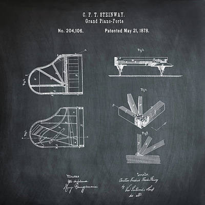 Steinway Grand Piano Patent 1878 In Chalk Poster