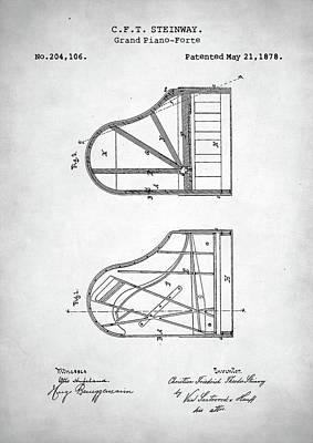Steinway Grand Piano Patent Poster by Taylan Apukovska