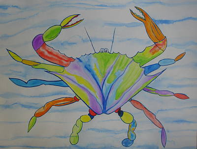Poster featuring the painting Stella The Crab by Erika Swartzkopf