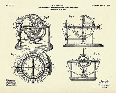 Stellar Compass And Great Circle Course Projector-1902 Poster by Pablo Romero