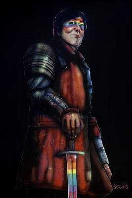 Stephen Fry As A Powerful Gay Knight With Rainbow Sword  Original Available Poster by Jason  Wright