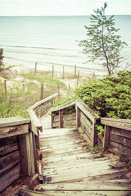Poster featuring the photograph Steps To Lake Michigan by Joel Witmeyer