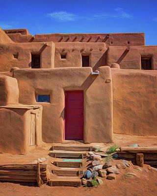 Steps To Red Door - Taos Pueblo Poster by Nikolyn McDonald