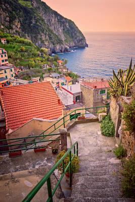 Steps To Riomaggiore Cinque Terre Italy Poster by Joan Carroll