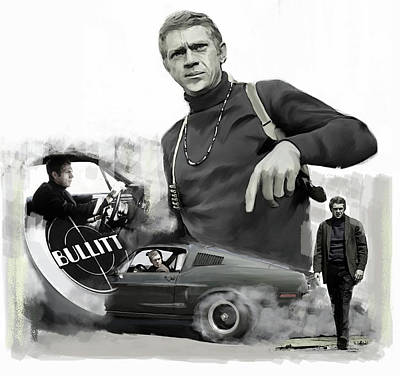 Poster featuring the painting Steve Mcqueen Bullitt Mcqueen  by Iconic Images Art Gallery David Pucciarelli