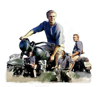 Poster featuring the painting Steve Mcqueen  Captain Hilts Great Escape by Iconic Images Art Gallery David Pucciarelli