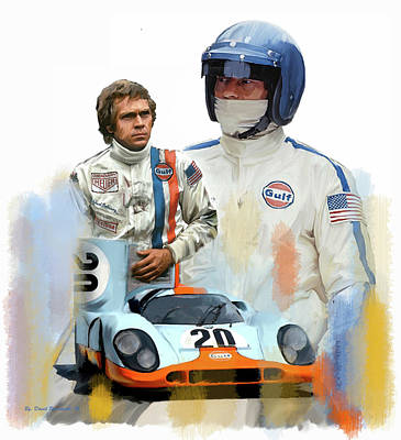 Poster featuring the painting Steve Mcqueen Driving Force by Iconic Images Art Gallery David Pucciarelli