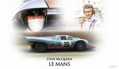 Steve Mcqueen Le Mans Poster by Peter Chilelli