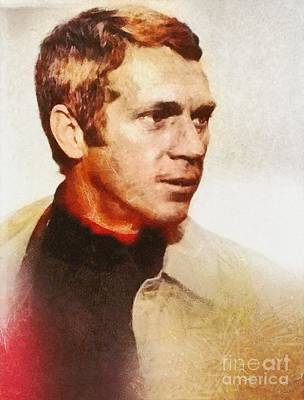 Steve Mcqueen, Vintage Hollywood Actor Poster by Mary Bassett