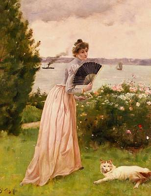 Stevens Alfred La Dame A L Eventail Poster by Alfred Stevens