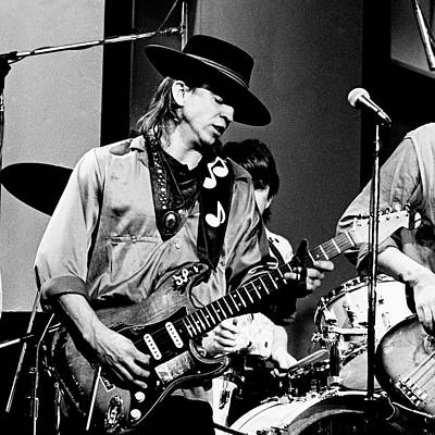 Poster featuring the photograph Stevie Ray Vaughan 3 1984 Bw by Chris Walter
