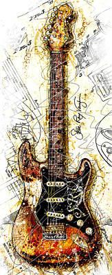 Stevie's Guitar Vert 1a Poster by Gary Bodnar