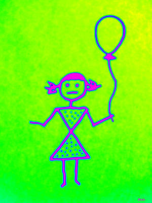 Pink Girl With Balloon Poster by Nola Hintzel