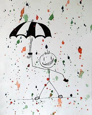 Stickman In The Rain Poster by Deimante Kajataite