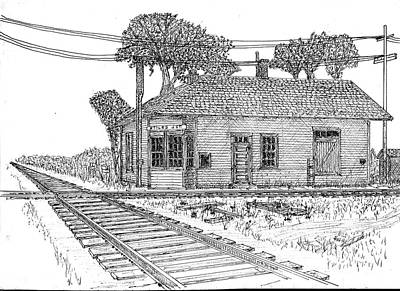 Poster featuring the drawing Stiles Jct Depot by Jack G  Brauer