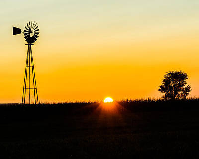 Poster featuring the photograph Still Country Sunset Silhouette by Chris Bordeleau