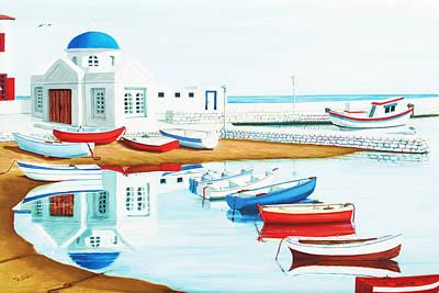 Still, In Mykonos Bay Poster by Mary Grden Fine Art Oil Painter Baywood Gallery