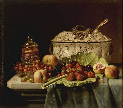 Still Life  Fruit And Dishes  Late 19th Century Oil On Panel Gottfried Schultz  German  1842  1919 Poster