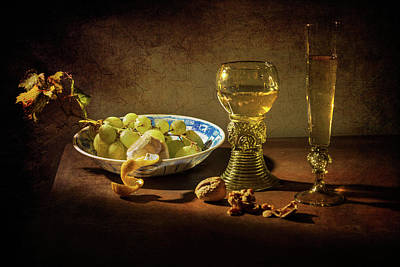 Still Life Grapes On Kraak Porcelain-roemer And Flute Glass Poster