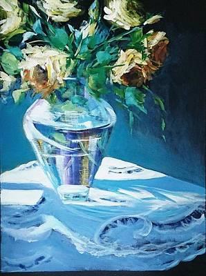 Still Life In Glass Vase Poster by Kathy  Karas